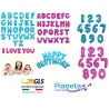 Palloncini gonfiabili Lettere e Numeri Fucsia e Celeste con chiusura