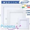 Pannello led quadrato 6/12/18W da incasso lampada soffitto slim luce bianco naturale calda