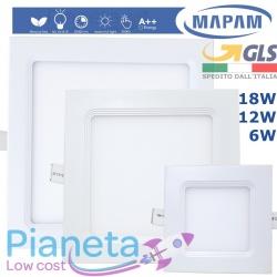 Faretto Pannello LED Quadrato Incasso 6/12/18W Luce Calda/Fredda Mapam