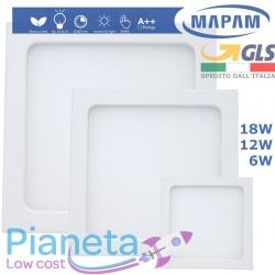 Pannello LED Quadrato plafoniera soffitto parete Muro 6/12/18W Luce Calda Fredda Naturale Faretto Mapam