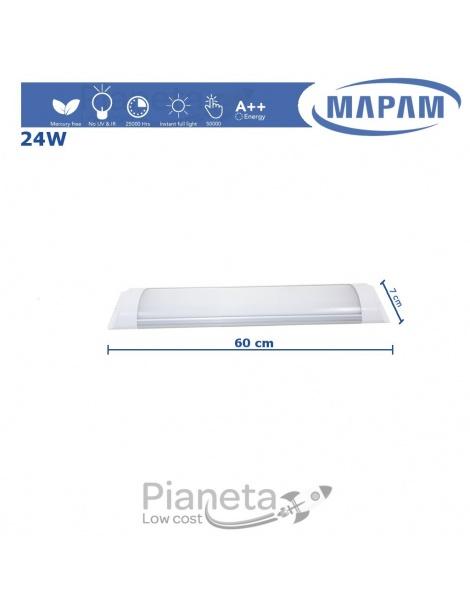 Neon LED Plafoniera 24 50W 60 120cm Luce Calda/Fredda/Naturale Applique Mapam