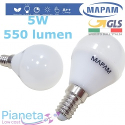 Lampadina LED E14 5W Watt Equiv. 45W High Power LUCE Fredda Naturale Calda Mapam