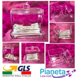 Porta cotton fioc dispenser pexiglass coperchio distributore cosmetici bagno