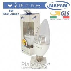 Lampadina LED 5W E14 Oliva Luce Calda/Fredda/Naturale Mapam