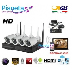 kit videosorveglianza wireless full hd 4 telecamere wifi remoto ip 5G nvr lan