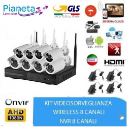 kit videosorveglianza wireless full hd 8 telecamere wifi remoto ip 5G nvr lan