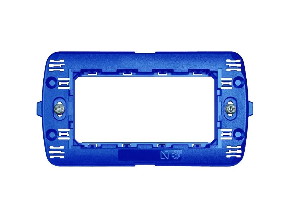Supporto 4 posti blu per placche compatibili bticino living - Placche living international ...