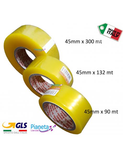 scotch imballaggio per pacchi Nastro Adesivo Imballo trasparente 45 mm x 90/132/300 mt metri
