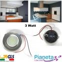 Faretto LED satinato incasso Cappa Cucina circolare 3 Watt Risparmio Energetico Satinato