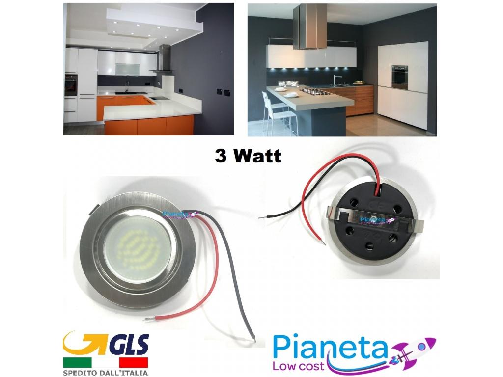 Faretto led satinato incasso cappa cucina circolare 3 watt risparmio energetico satinato - Cappa per cucina da incasso ...