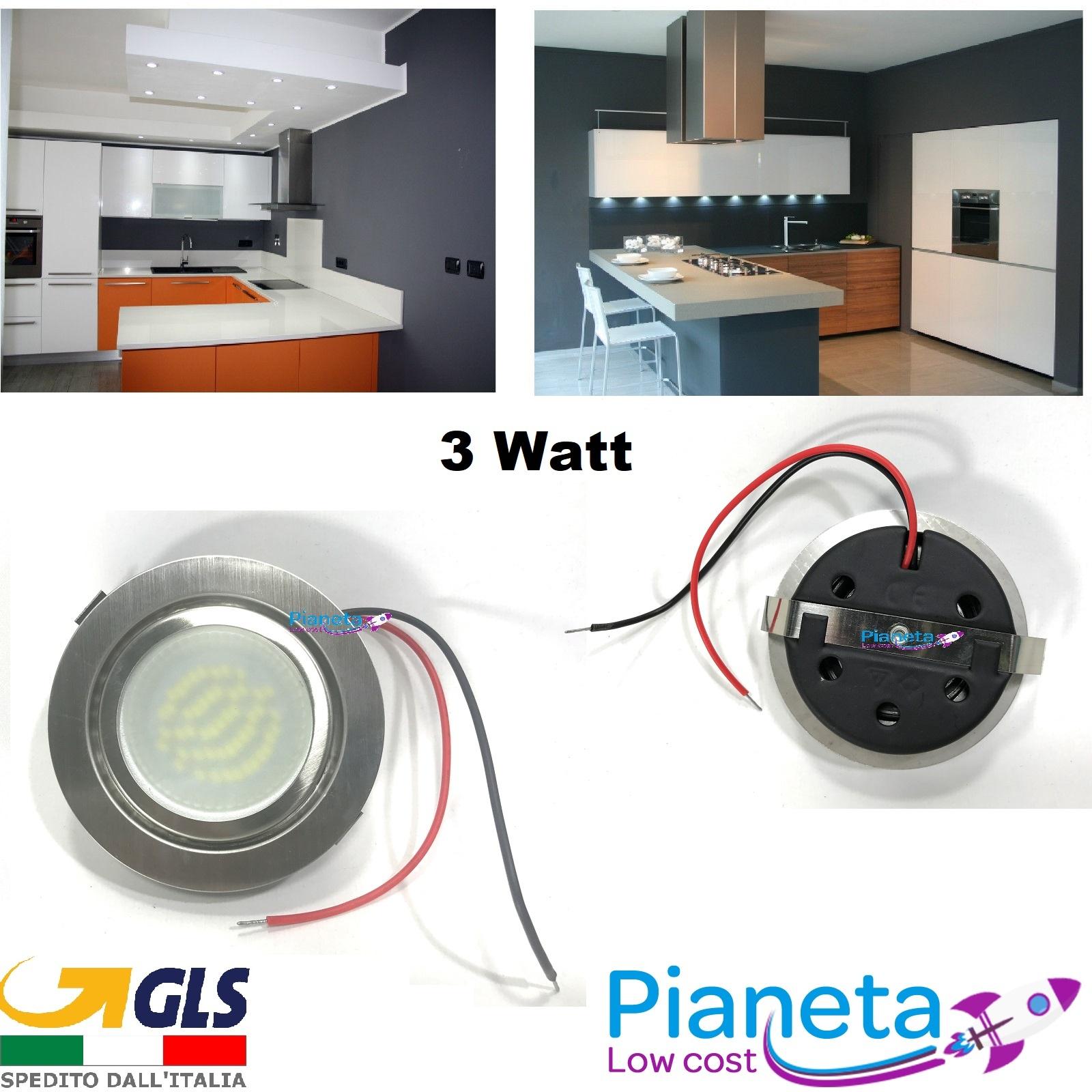 Faretto LED satinato incasso Cappa Cucina circolare 3 Watt ...