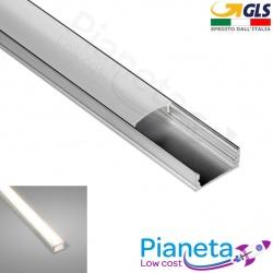Profilo Alluminio 2M per Strisce Strip LED Barra Rigida Profilato Copertura Opaco