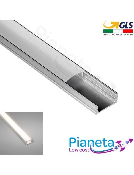 Profilo Alluminio 1M per Strisce Strip LED Barra Rigida Profilato Copertura Opaco