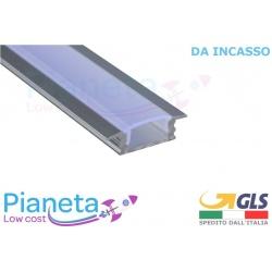 Profilo Alluminio 2M per Strisce Strip LED Barra Rigida incasso Copertura Opaco