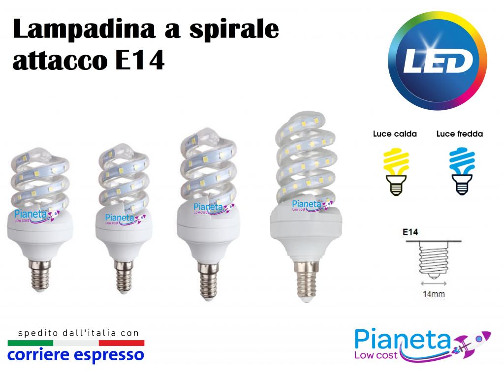 Lampadina led a spirale e14 5 7 9 11w lampada risparmio for Lampadine basso consumo led