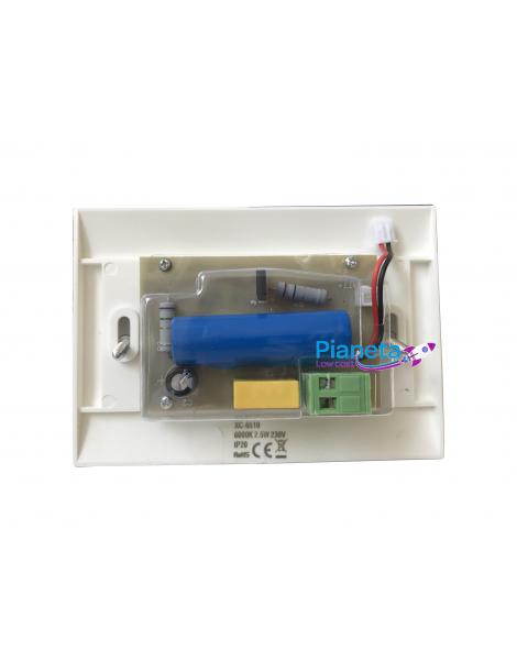 Lampada emergenza luce led fredda da incasso per scatola cassetta 503 con placca bianca