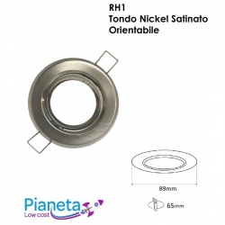 Porta Faretto tondo Nickel orientabile controsoffitto Lampadine led GU10 7w