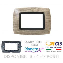 Placche Compatibili BTICINO LIVING INTERNATIONAL 3 4 7 posti legno rovere avorio