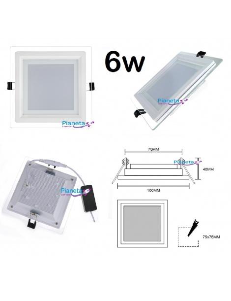 Pannello led vetro da incasso quadrato tondo 6 9 12 18w iluminazione