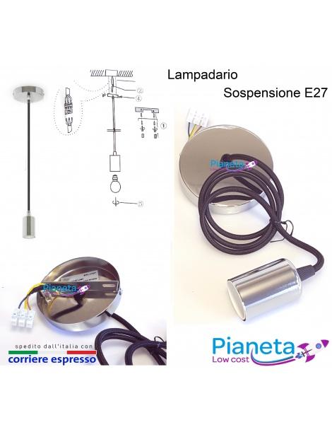 Lampadario a sospensione E27 cromo cavo in tessuto nero