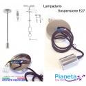 Porta lampada E27 Lampadario a sospensione cromo cromato argento lucido metallo cavo in tessuto nero