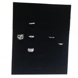 Espositore per anelli verticale in velluto nero porta gioielli rettangolare