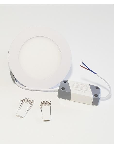 Faro faretto led pannello rotondo slim 6w ip20 da incasso a molla luce bianca fredda 6500k