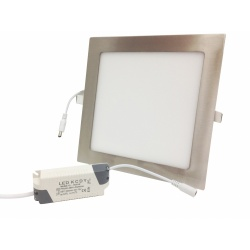 Pannello led quadrato 18w acciaio satinato nichel incasso Faro faretto completo driver luce bianca naturale caldaDownlight