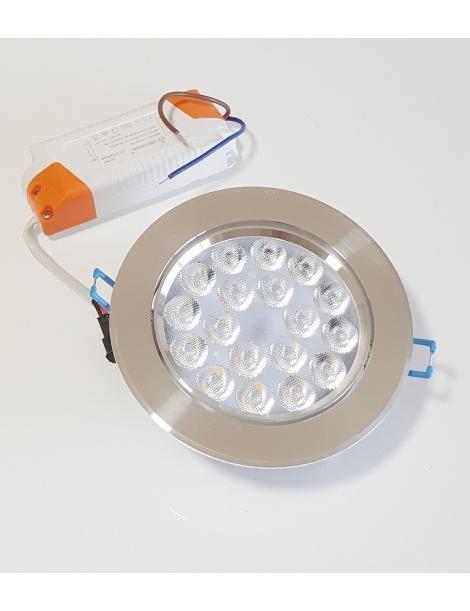Faro faretto led da incasso alluminio 18w ip20 orientabile rotondo luce calda 3000k