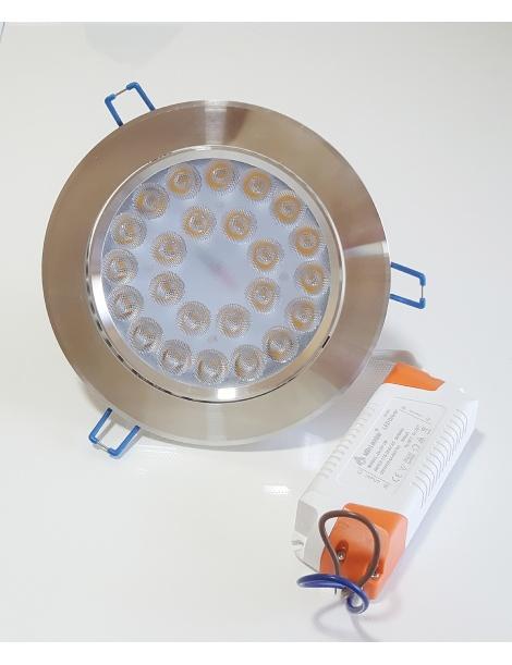 Faro faretto led da incasso alluminio 24w ip20 orientabile rotondo luce naturale 4500k bianca 6500k