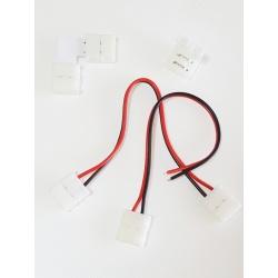 Connettori striscia led 10mm rapidi clip jack per strip smd 5050 ip60 con cavo angolo