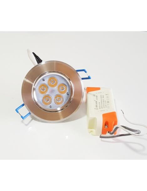 Faro faretto led da incasso alluminio 5w ip20 orientabile rotondo luce naturale 4500k