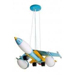 Lampadario sospensione aereo colorato per cameretta bambini 4 attacchi lampadina E14 E27
