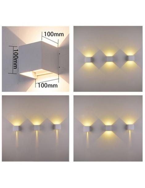 Applique doppio bianco cubo led 6W luce regolabile IP65 faretto a muro parete