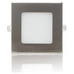 Pannello led 6w quadrato acciaio satinato nichel incasso 105mm Faro faretto Downlight