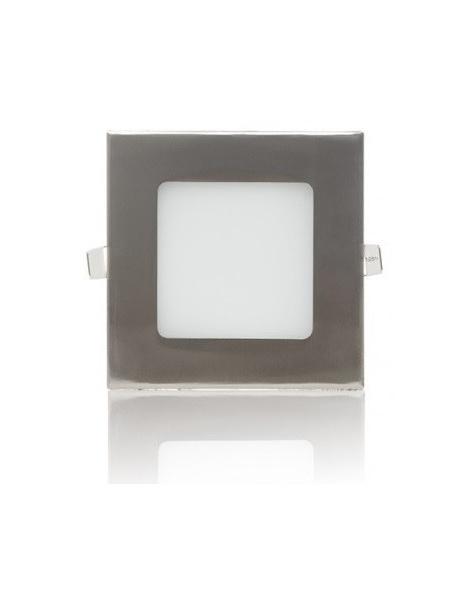 Pannello led quadrato 6w acciaio satinato nichel incasso Faro faretto completo driver luce bianca naturale calda Downlight