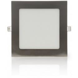 Pannello led quadrato 12w acciaio satinato nichel incasso Faro faretto luce bianca naturale calda Downlight