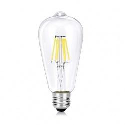 Lampadina led filamento vintage 8w bulbo E27 ambra trasparente luce bianca calda