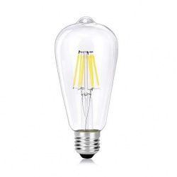 Lampadina led filamento vintage 6w bulbo E27 trasparente luce calda 2700k fredda bianca 6500k
