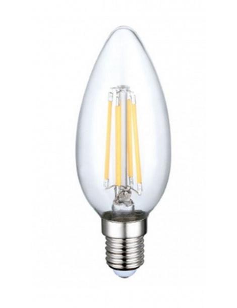 Lampadina led filamento oliva 4w bulbo E14 candela trasparente luce calda 2700k fredda bianca 6500k