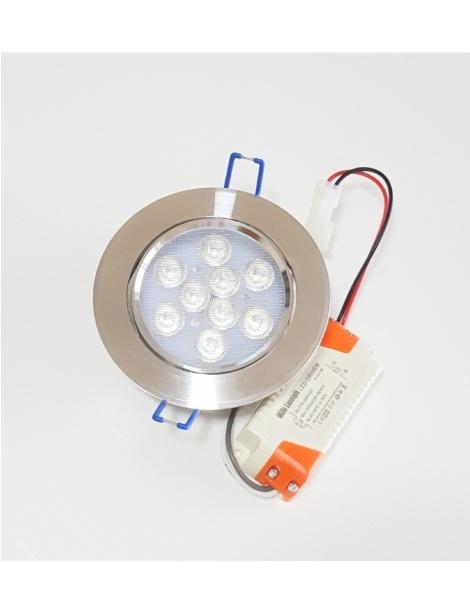 Faro faretto led da incasso alluminio 9w ip20 orientabile rotondo luce fredda bianca 6500k