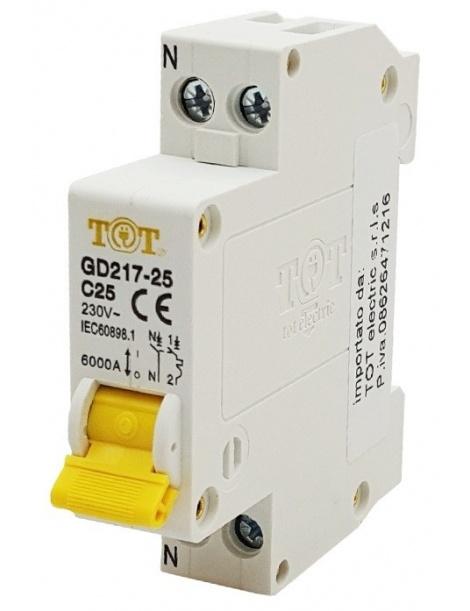 TOT interrutore differenziale automatico 1P+N 6 kA 10 16 20 25 32A ampere salvavita