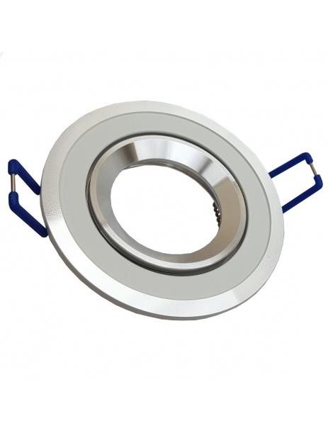 Porta Faretto tondo bianco e cromato orientabile controsoffitto Lampadine led GU10