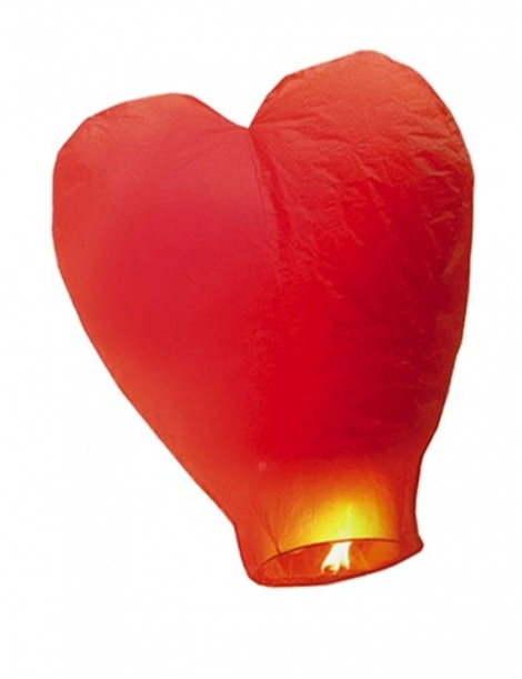 MONGOLFIERA CINESE A CUORE ROSSO