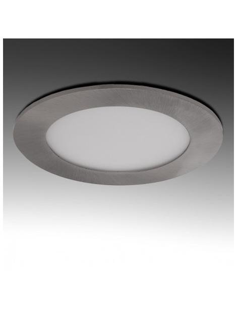 Pannello rotondo acciaio satinato nichel slim led 3w ip20 incasso Faro faretto luce bianca fredda naturale calda Downlight