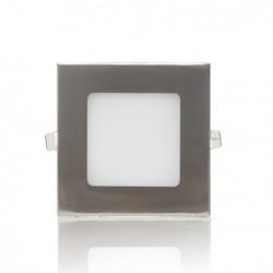 Pannello led quadrato slim acciaio satinato nichel 3w ip20 incasso Faro faretto luce bianca fredda naturale calda Downlight