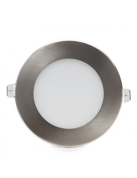 Pannello led rotondo acciaio satinato nichel slim 6w ip20 incasso faretto completo driver luce bianca naturale calda Downlight