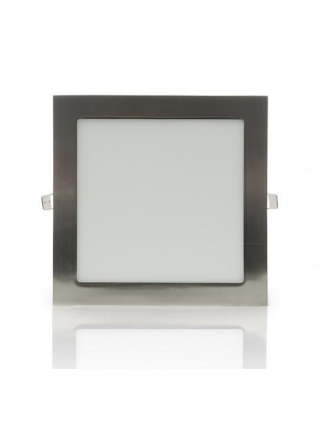 Pannello led quadrato acciaio satinato nickel slim 24w ip20 incasso faro faretto luce bianca fredda naturale calda Downlight