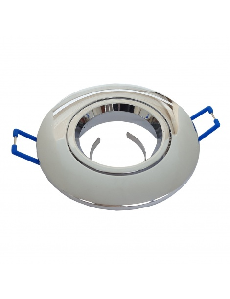 Porta faretto tondo argento cromato lucido incasso controsoffitto orientabile lampadine led gu10