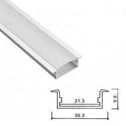 Profilo Alluminio incasso largo Strisce Strip LED Barra Rigida Copertura Opaco